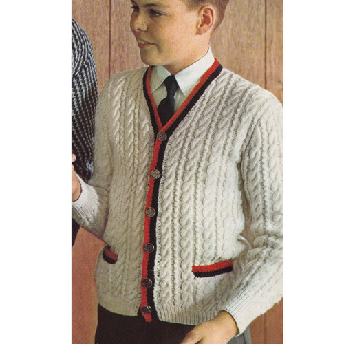 Cable Cardigan Boys Knitting Pattern