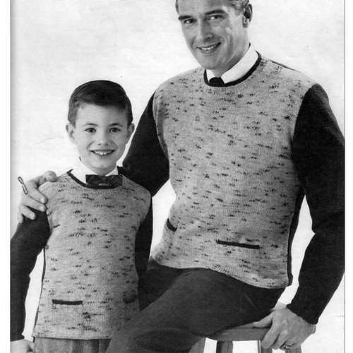 Father Son Knit Tweed Pullovers Pattern