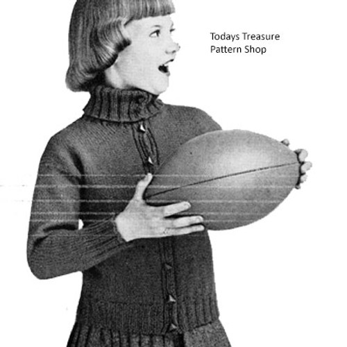 Childs Vintage Turtleneck Jacket Pattern