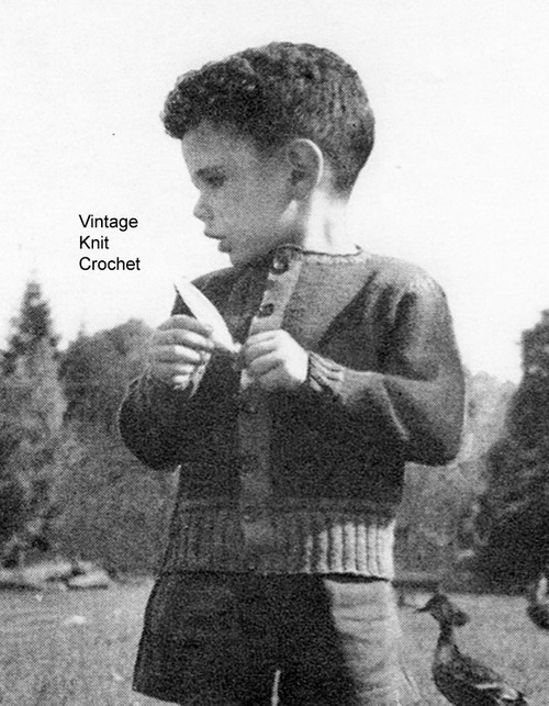Vintage Boys Knitted Sweater Pattern