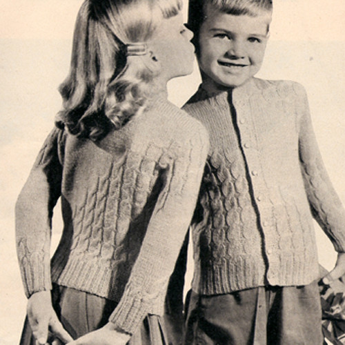 Vintage Girls Cable Cardigan Knitting Pattern