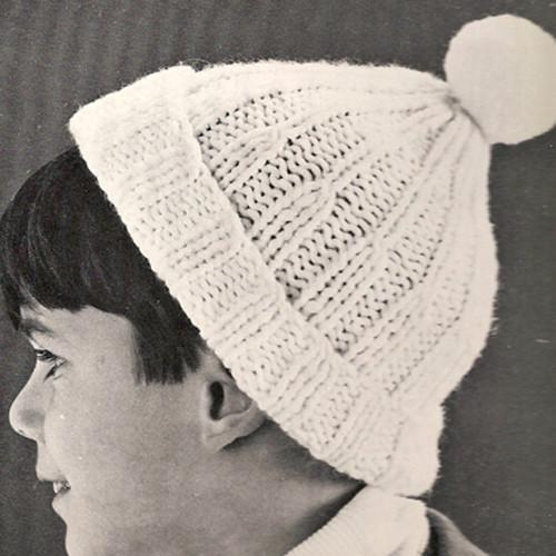 Vintage Kids Beanie Hat Knitting Pattern