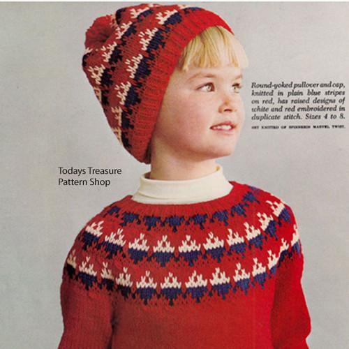Knitting Pattern Girls Ski Sweater Cap Pattern