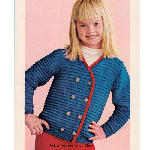 Girls Knitted Jacket Pattern, Vintage 1960s