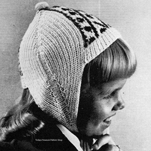 Girls knitted helmet hat pattern