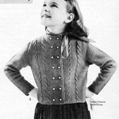 Girls Vintage Bellhop Jacket Knitting Pattern