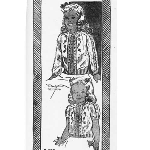 Childs Saddle Sleeve Knitted Cardigan Pattern No E-1104