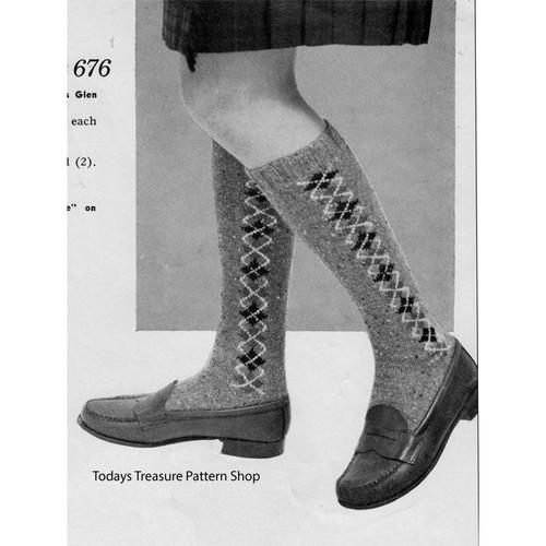Girls Argyle Socks Knitting Pattern
