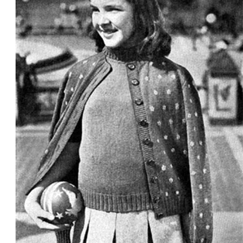 Vintage Girls Knitted Sweater Pattern with Flower Emboridery