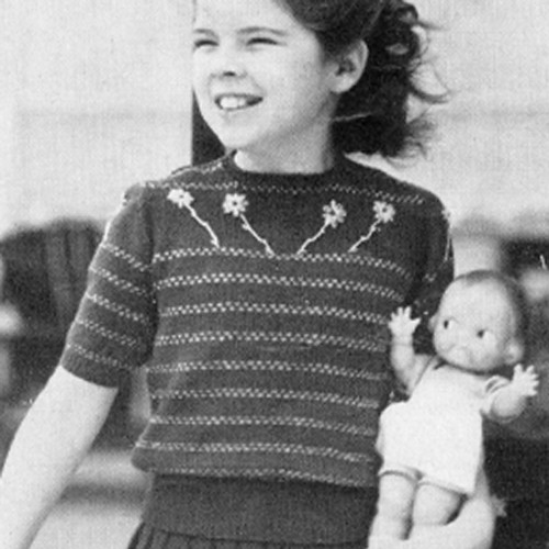 Girls Yoked Pulllover Knitting Pattern with Short Sleeves