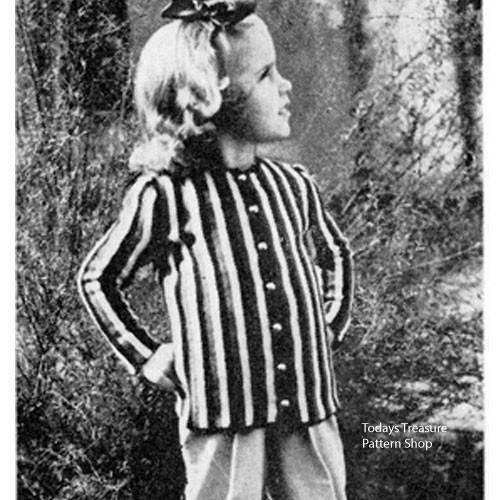 Vintage Girls Striped Blazer Pattern