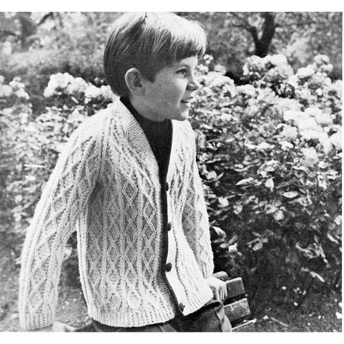 Vintage Boys Knitted Fisherman Cardigan Pattern