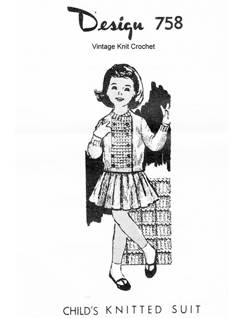 Childs Knitted Suit Pattern, Skirt Jacket, Mail Order Design 758