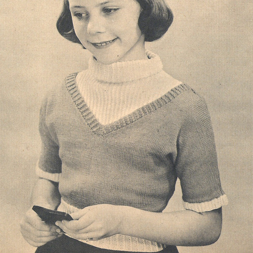 Vintage Knitting Pattern Girls Short Sleeve Pullover