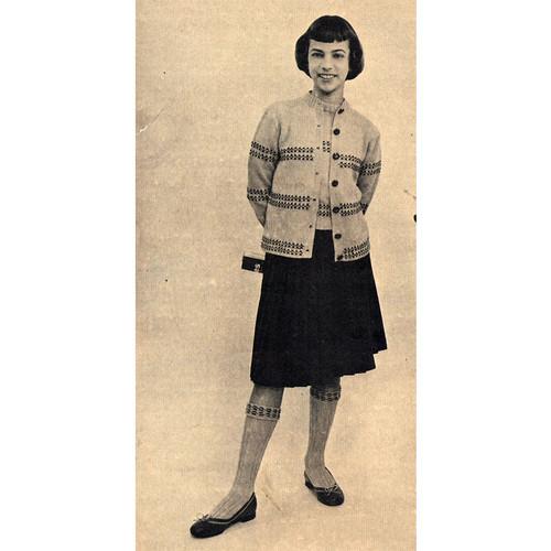 Girls Vintage Knit Twin Set Knitting Pattern