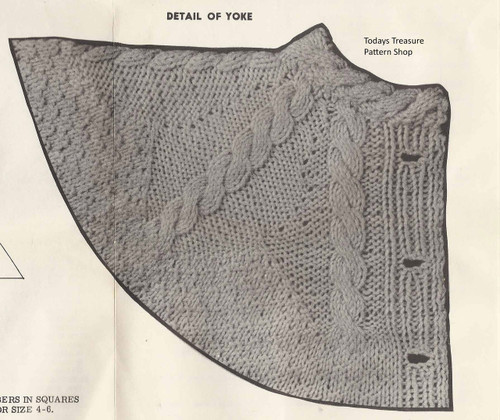 Girls Knitted Pattern Stitch Coat Illustration