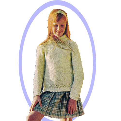 Girls Long Tunic Knitted Pullover pattern