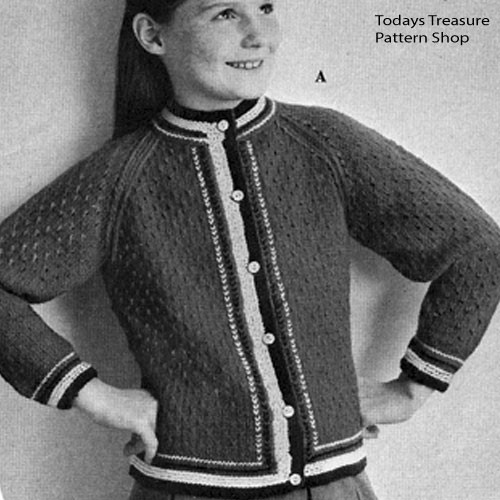 Girls Three Color Knitted Cardigan Pattern