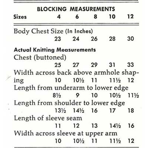 Size chart for girls knitted cardigan