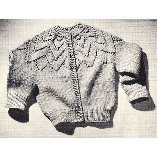 Girls Vintage Knitted Petal Cardigan Pattern