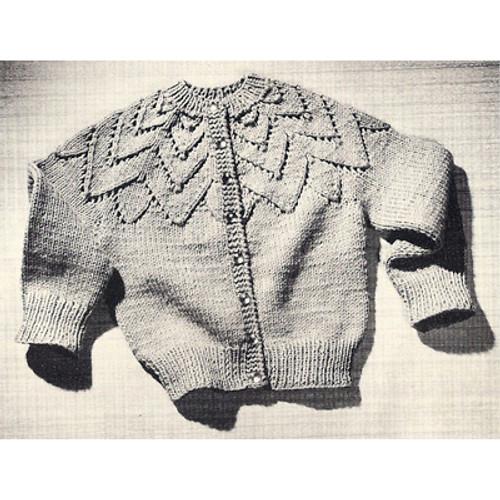 Girls Vintage Knitted Petal Cardigan Pattern
