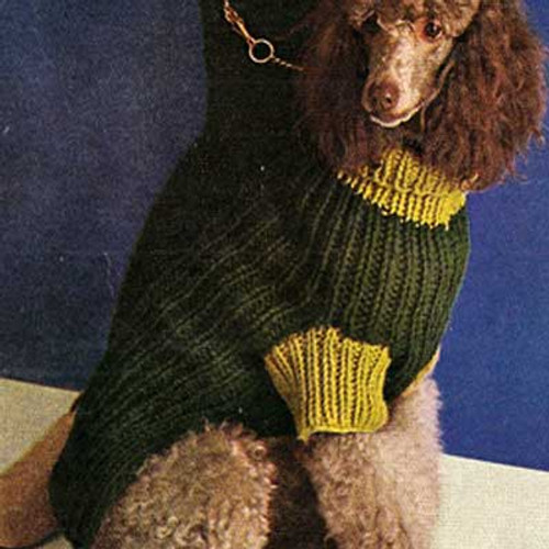 Vintage Knitted Ribbed Dog Coat Pattern
