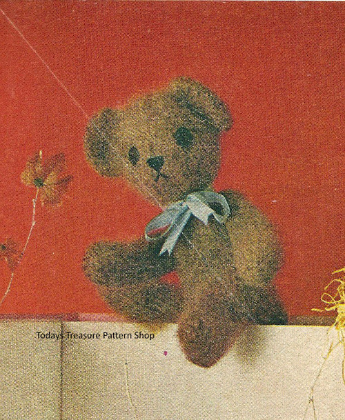 Knitting Pattern Toy Bear, Vintage 1950s