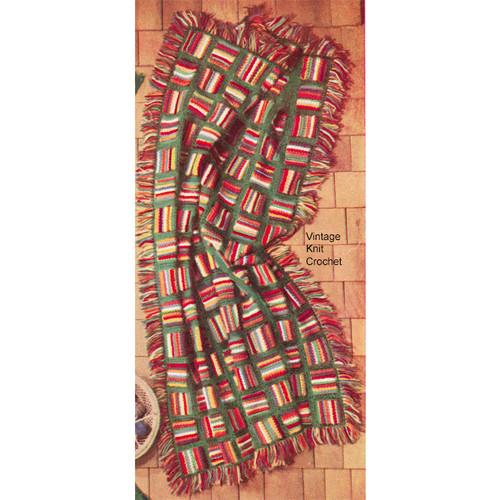 Easy striped block afghan crochet pattern, star stitch