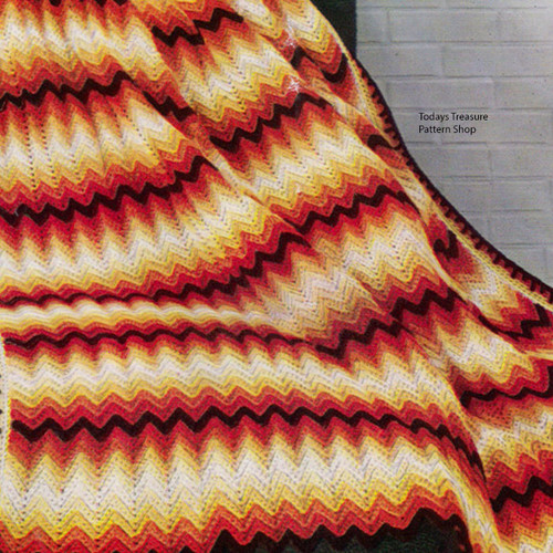 Vintage Autumn Stripe Afghan Pattern from Spool Cotton