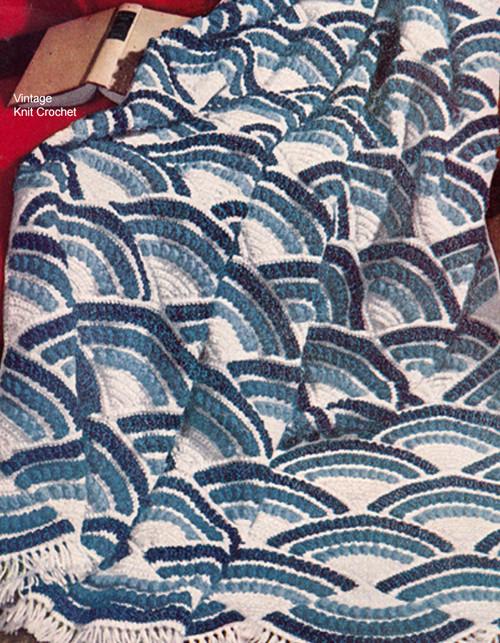 Crocheted Afghan Pattern, Fan Motif