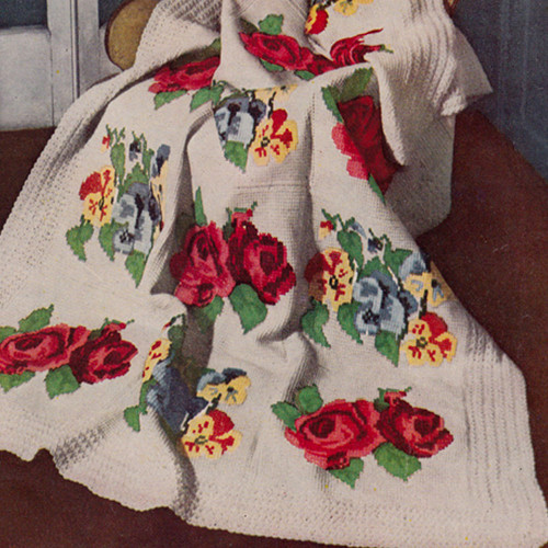 Victorian Rose Crochet Afghan Pattern with Embroidery