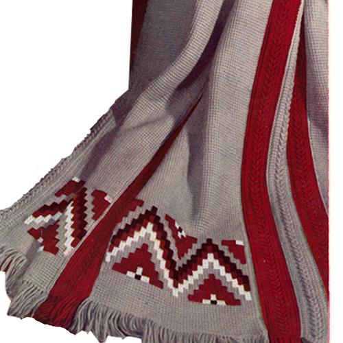 Vintage Indian Striped Crocheted Afghan Pattern