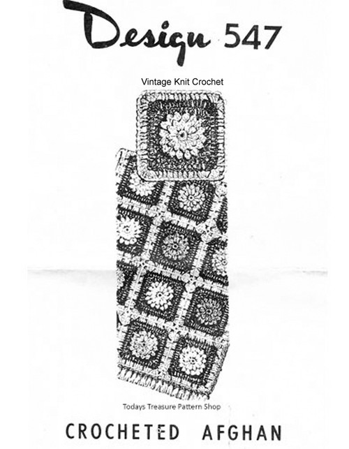 Crochet Flower Afghan Pattern, Mail Order 547
