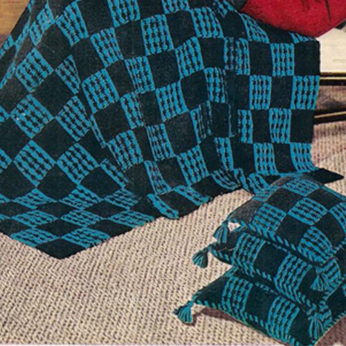 Masculine Block Crochet Afghan Pillow Pattern, C239 Checkmate