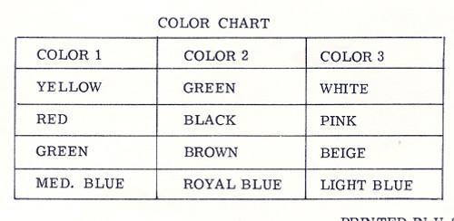 Color Chart for Crochet Flower Afghan