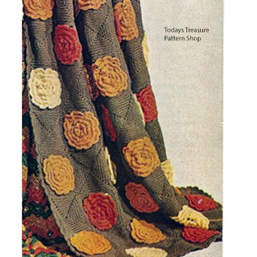 Vintage Floral Block Afghan Crochet Pattern, Vintage 1960s