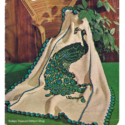 Peacock Crocheted Afghan Pattern from American Thread