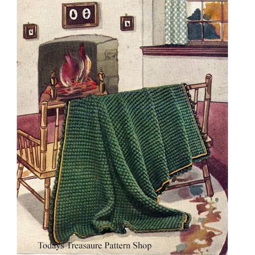 Vintage 1930s Green Crochet Afghan Pattern