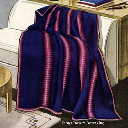 Easy Striped Crochet Afghan Pattern, Vintage 1930s
