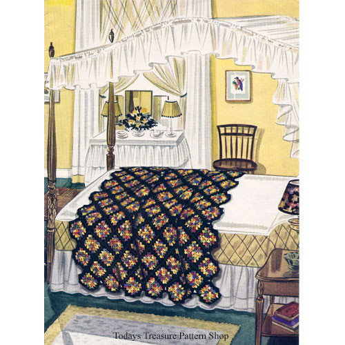 Crochet Pattern Vintage Granny Afghan