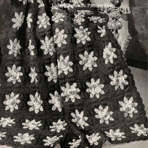 Vintage Flower Afghan Crochet Pattern in Blocks