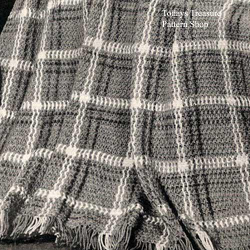 Vintage Plaid Crochet Afghan pattern in three colors