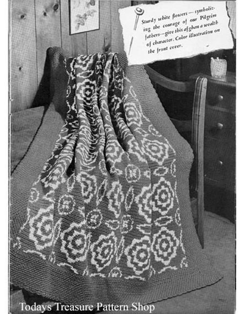 Vintage Crocheted Flower Afghan Pattern, 1940s