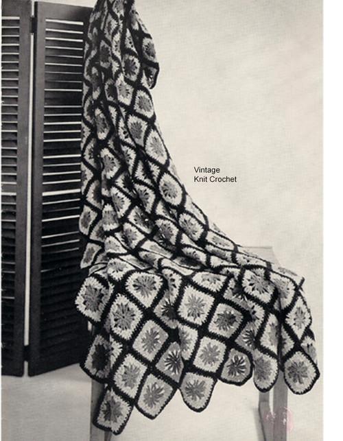 Crochet Afghan Pattern, Pinwheel Medallions