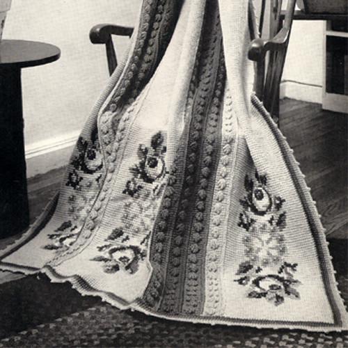 Vintage Crochet Talisman Afghan Pattern, embroidered flowers