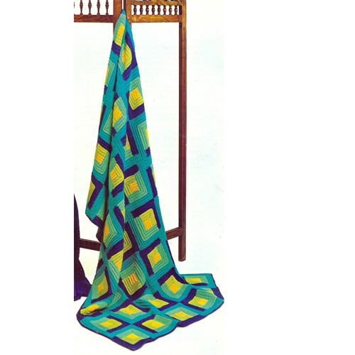 Vintage Spinnerin Crochet Afghan Pattern in Green Blue