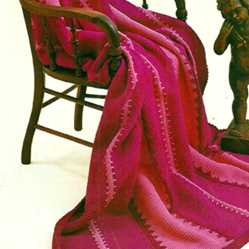 Easy Striped Afghan Crochet pattern, Vintage 1960s
