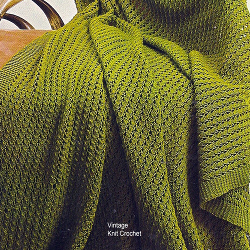 Beginners Knitted Afghan Pattern, Spinnerin