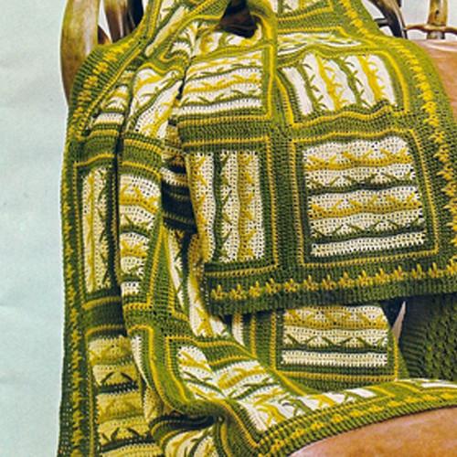 vintage block crochet afghan pattern from Spinnerin