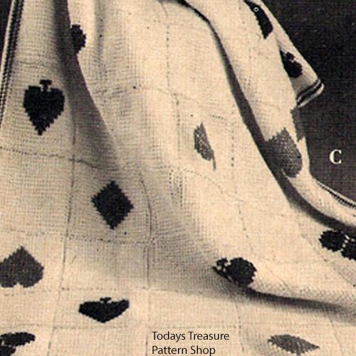Crocheted Trump Afghan pattern, Vintage 1950s